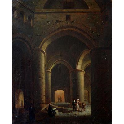 "French School 1820/1830 ""interior Animated In A Crypt"" Renoux Lesaint Bouton Daguerre Paris"