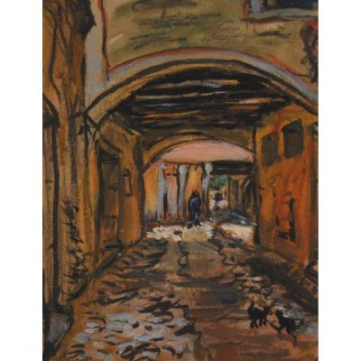 """SEYSSAUD René (1867-1952)""""Rue animée en Provence"""" Avignon Marseille Nîmes Aurel Martigues Paris"""