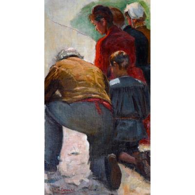 """GRIVOLAS Pierre (1823-1906) """" Famille en prière """" Avignon Provence Félibre Paris Vaucluse"""