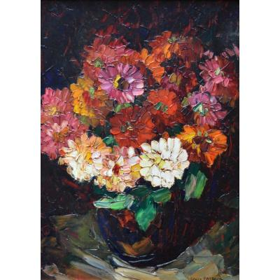 "Pastour Louis (1876-1948) ""bouquet Of Zinnias"" Flowers Cannes Provence Nice Bonamici Paris"