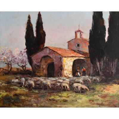 "Van Den Bussche Fernand (1892-1975) ""herd In Front Of The Sainte-sixte Chapel In Eygalières"" Provence Alpilles Marseille Paris Molleges"