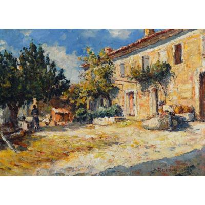 """DUCROS Edouard (1856-1936) """"Cour d'un mas à Aix en Provence"""" Cezanne Ravaissou Gagliardini Puyricard Paris"""
