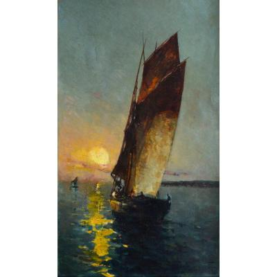 "Dellepiane David (1866-1932) ""fishing Boats At Sunset"" Marseille Provence Loubon Paris Fishermen Souh Of France Sun Guindon"