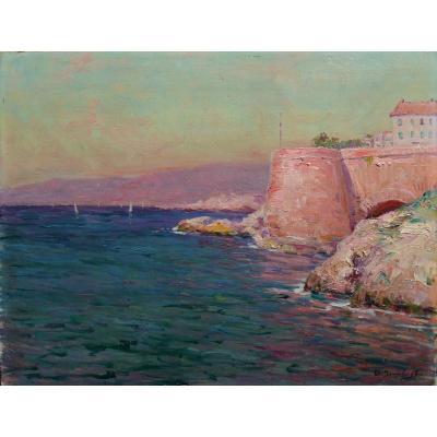 """ISAILOFF Alexandre (1855-1934) """" Corniche à Marseille """" Provence Olive Constantinople Russie"""