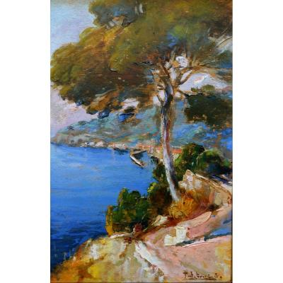 "Levere Paul (1875-1949) ""view Of The Bay Of Nice"" Nardi Villefranche Provence Paris Lazaret Boron"