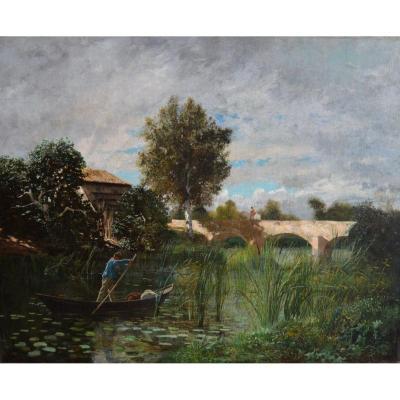 """ISNARD Jean-Roch (1845-1890)""""Pêcheur sur le canal à Mas-Thibert"""" Arles Provence Camargue Avignon Barbizon Paris"""