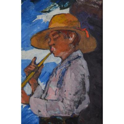 """LEYDET Louis (1873-1944) """"Joueur de Galboubet """" Provence Aix Nice Cezanne Niollon Paris Flûte"""