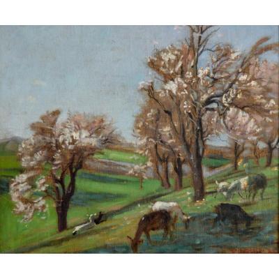 """Grivolas Pierre (1823-1906) """"herd Of Goats"""" Vaucluse Provence Avignon Paris Ventoux Paris"""