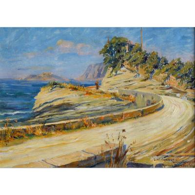 "Barthalot Marius (1861-1955) ""the Road Of Arène Cros, La Ciotat"" Provence Cassis Marseille Lecques Sun"