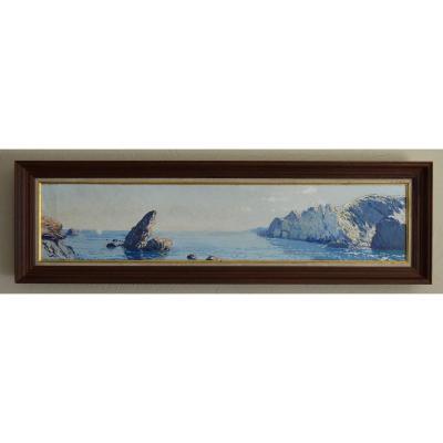 "Faget Germain Pierre (1890-1961) ""panorama Of The Mediterranean Sea"" Corsica Algeria Bordeaux Paris"