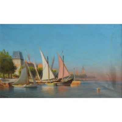 """Gautier François (1842-1917)""""qa And Port Of Evian Les Bains""""léman Switzerland Thonon Lausanne"""