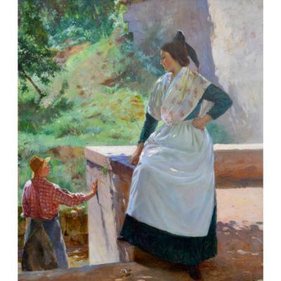 """PICARD Edmond (1862-1899) """"Arlésienne sur la terrasse""""  Arles Provence Besançon  Fanart Meunier"""