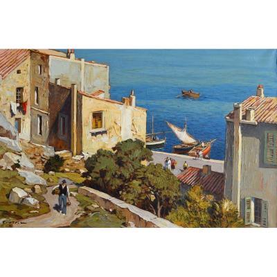 """Vidal Gustave (1895 - 1966) """"ruelle Descendant Au Port De Bonifacio, Corsica"""" Figari Avignon"""