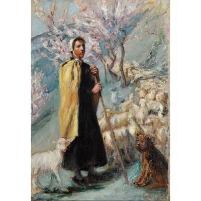 """GRIVOLAS Pierre (1823-1906) """" Bergère et son troupeau """" Vaucluse Provence Avignon Paris Ventoux"""
