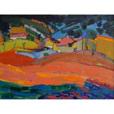 """AMBROGIANI Pierre (1907-1985) """"Paysage du Vaucluse"""" Marseille Aurel Sault Ajaccio Provence Avignon Ventoux Fauve"""
