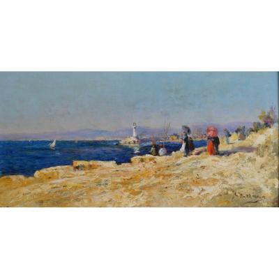"""NATTERO Louis (1870-1915) """"Les Pierres Plates et le phare Sainte Marie à Marseille"""" Toulon Provence Paris Martigues"""