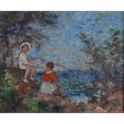 D'ESPAGNAT Georges (1870 - 1950) « Mère et son enfant en bord de mer » Provence Var Paris Renoir Vuillard Bonnard France Fauve