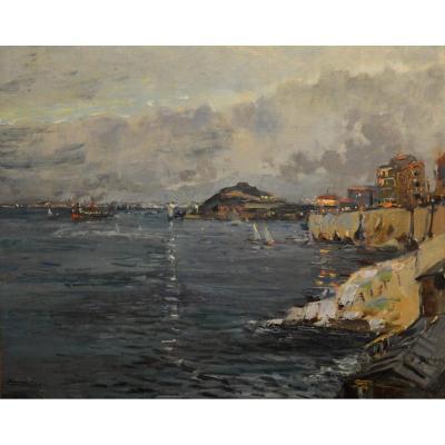"""DELPY Lucien-Victor (1898-1967) """"La corniche à Marseille, le soir"""" Provence Marine Concarneau Martigues Paris"""