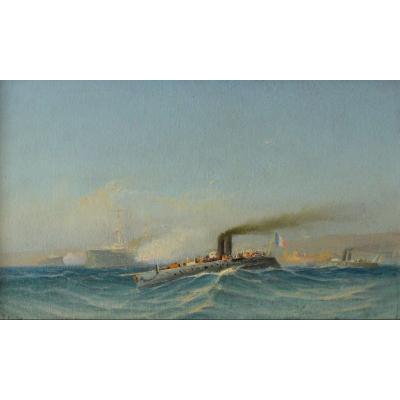 """GAUTIER François (1842-1917)""""Escadre dans la rade de Toulon"""" Provence Marseille Mourillon Armée"""