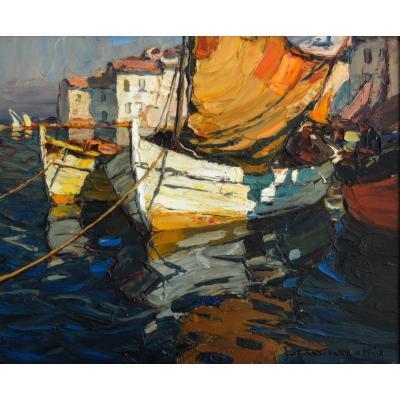 "Mattio Laurent (1892-1965) ""fishing Boats In Martigues"" Brescon Provence Toulon France"