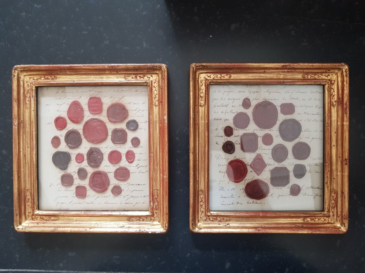 Pair Of Frames With Wax Seals