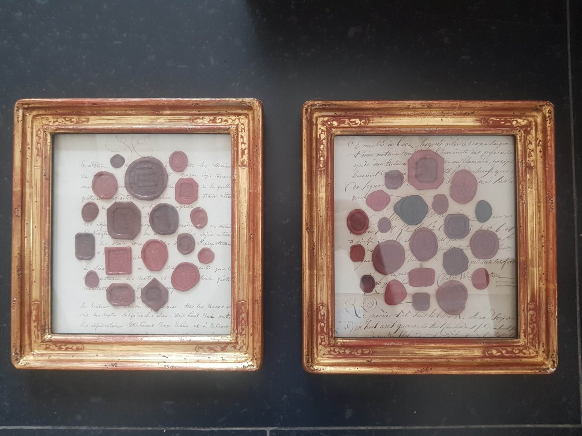 Pair Of Frames With Emblazoned Seals