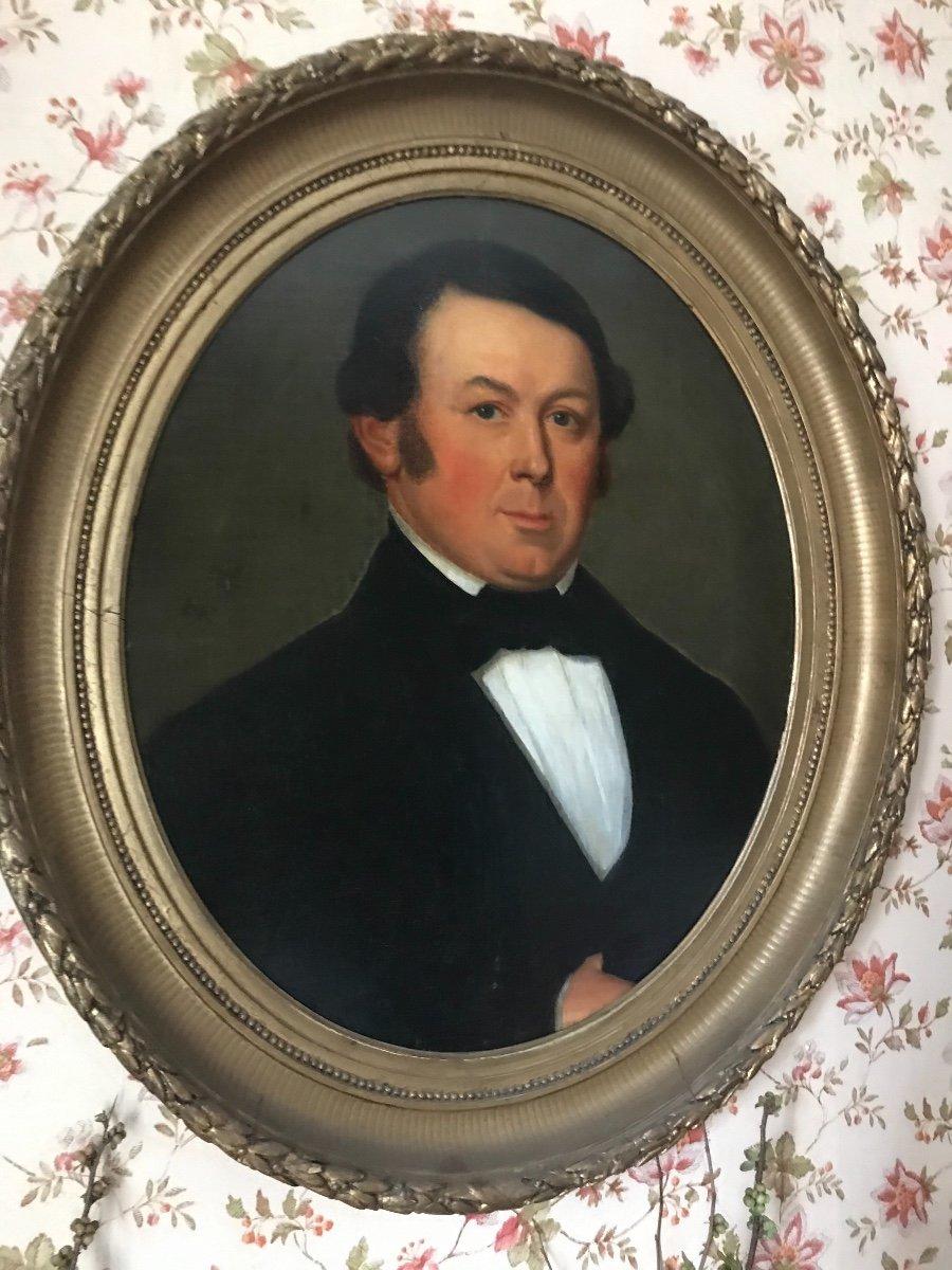 Oval Portrait Of Man On Mahogany Panel