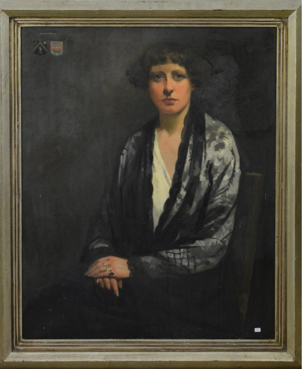 Portrait Of Agnès De Vrière (1886-1942) Wife Pierre Kervyn De Marcke Ten Driessche