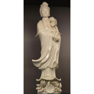 Statue De Guanyin En Blanc De Chine