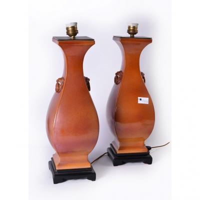 Pair Of Chinese Vases Mounted As Lamps