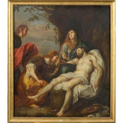 "after VAN DYCK Antoon (1599 1641). Oil on canvas mounted on canvas ""La Lamentation"". Flemish school. Period: late 17th century. Dim.:+/-130x114.5cm."