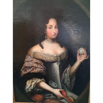 Rare Portrait Of A 17th Century Lady Holding A Timepiece