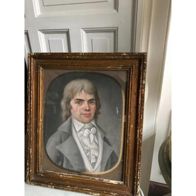 Pastel Of Young Man From The 18th Century In Its Original Frame
