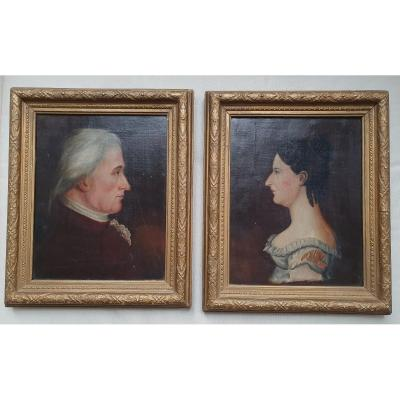 Pair Of Portraits In Profile
