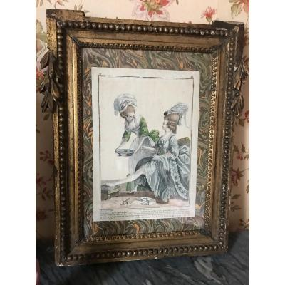 Louis XVI Period Frame With 'toilette De Dame' Print