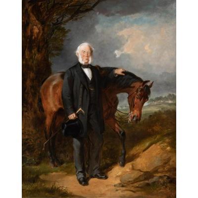 Portrait d'Un Gentilhomme Et Son Cheval 1870 Par Thomas Jones Barker