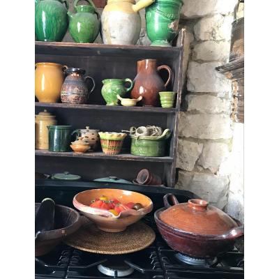Ancien Plat Ceramique Vernis