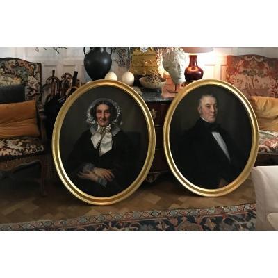 Paire De Grand Portraits Du Peintre Belge Jean Mathieu Nisen