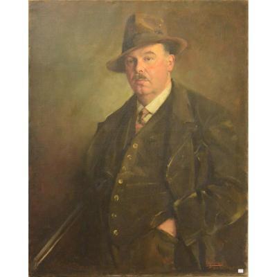 Portrait De Chasseur Hst Signé Max Moreau 1928