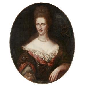 Portrait De Dame De Qualité Armorié 18ème