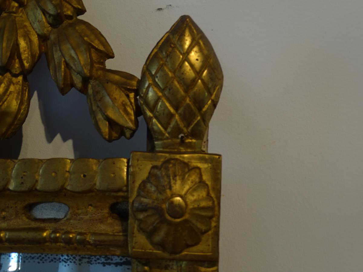 Miroir Bois Doré D époque Louis XVI-photo-3