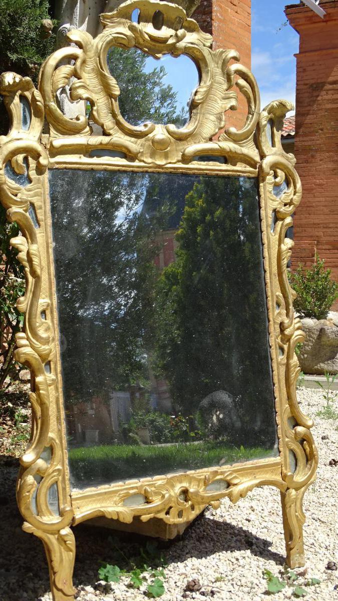 Grand Miroir Louis XV Bois Doré A Parecloses