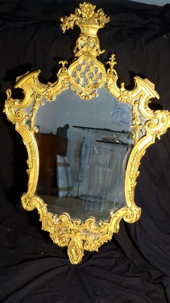 Golden Stucco Mirror Northern Italy