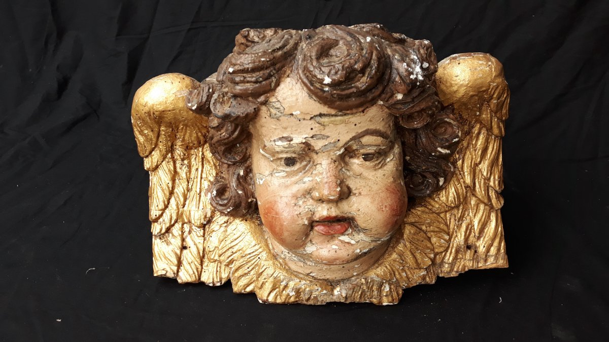 Angel Or Putti In Carved And Gilded Wood