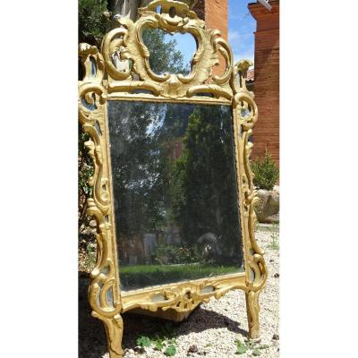 Large Mirror Louis XV Gilded Wood A Glazing Bead