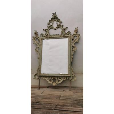 Italian Mirror Carved And Lacquered Wood