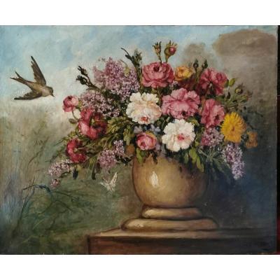 Tableau 19 Eme Siecle, Bouquet Et Oiseau