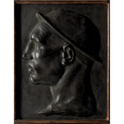 Paire De Plaques En Bronze : Tête De Jeune Mineur Et Tête De Marteleur