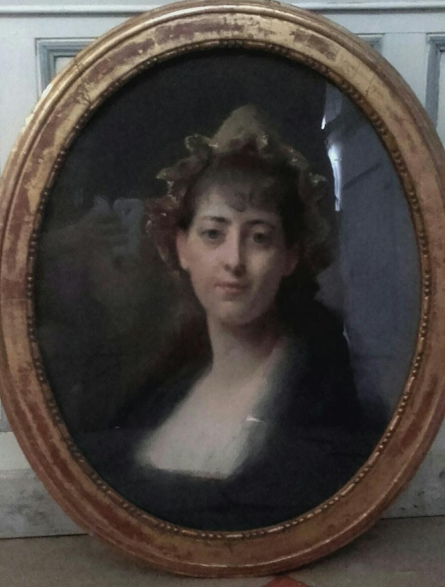 Pastel: Young Woman With The Headdress By Madeleine Lemaire