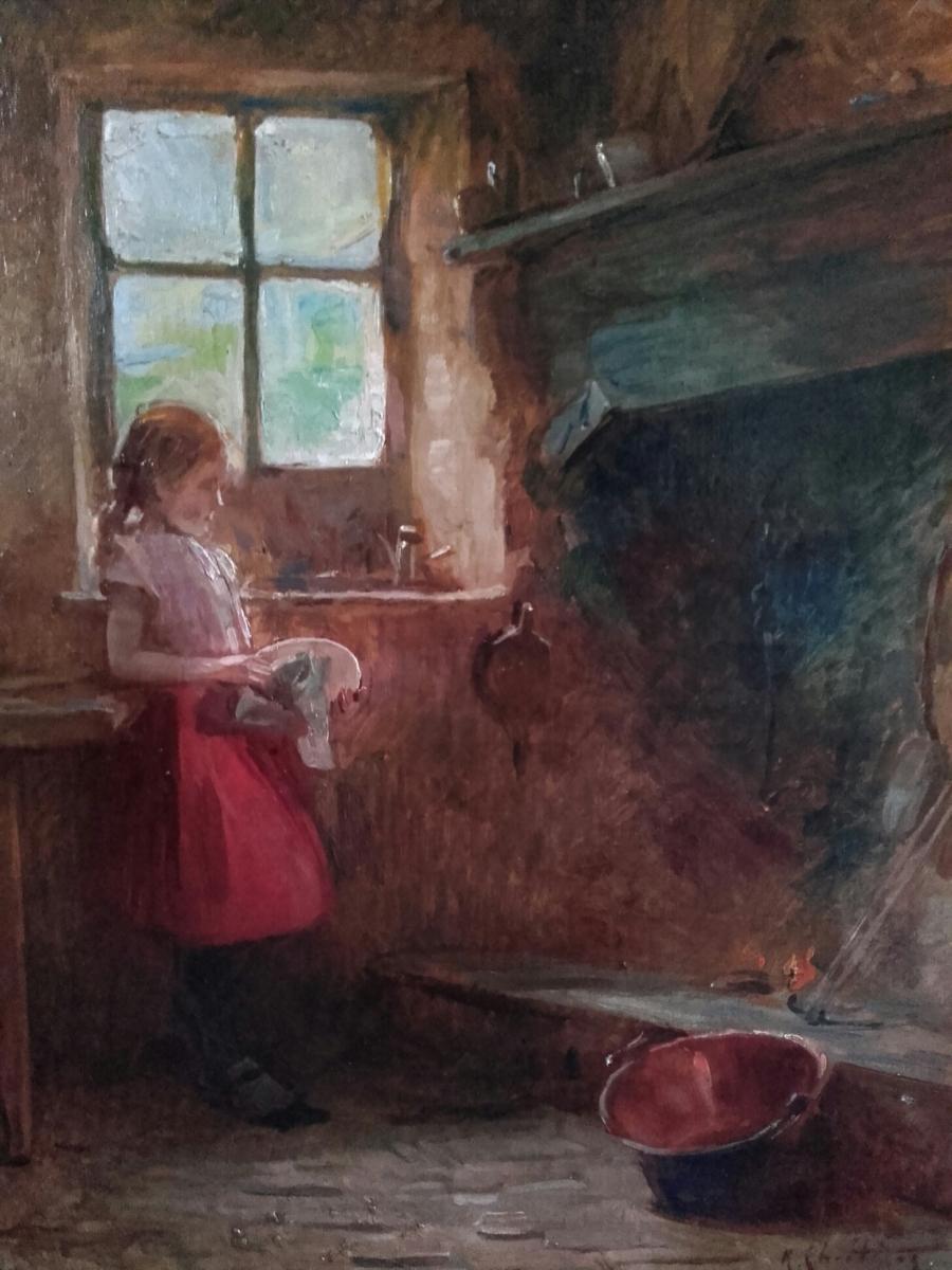 """""""jeune Fille Devant l'âtre"""" Par René Chrétien"""